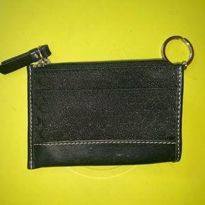 Coach Black Card Holder Keychain